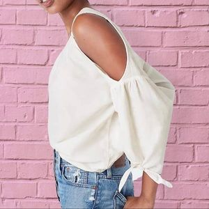 Madewell Cold-shoulder Top in White Wash Medium